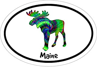 WickedGoodz Oval Vinyl Tie Dye Maine Moose Decal - Moose Bumper Sticker - Perfect Vacation Gift