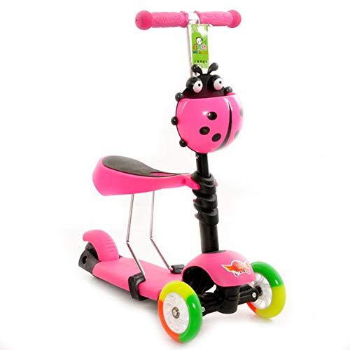 Patinete 3 en 1 Plegable NiñO Tipo Scooter Freno Ajuste de Altura Tamaño 56x25x73cm,Pink
