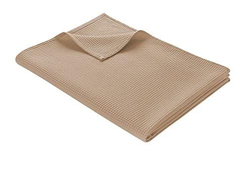 WOHNWOHL Tagesdecke 150 x 200 cm • Waffelpique leichte Sommerdecke aus 100prozent Baumwolle • Luftige Sofa-Decke vielseitig einsetzbar • Leicht zu pflegene Wohndecke • Baumwolldecke Farbe: Taupe