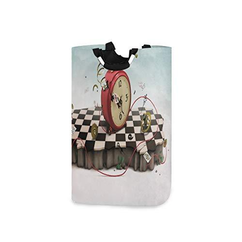 YCHY Wäschekorb,Abstraktes Zeitthema mit fiktiven Podium-alten Uhrenkarten und Seil-Symbol,faltbar,tragbar,platzsparend,Aufbewahrungstasche,schmutzige Kleidung für Badezimmer,Kinderzimmer