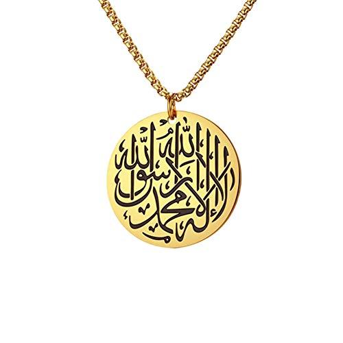 GuDeKe Silber Gold Farbe Halskette 'Allah' für Muslime Islam - Rund Anhänger Kette 60 cm (Goldene Farbe)