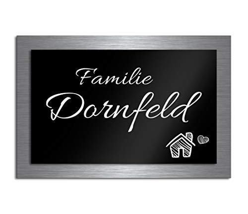 Premium Türschild aus Hochglanz Acrylglas und V2A Edelstahl | Namensschilder mit Gravur und Motiven Familienschild Türschilder für die Haustür mit Namen selbstklebend oder mit Bolzen 15x10 cm