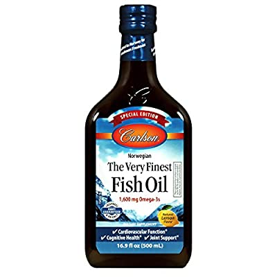 Carlson - The Very Finest Fish Oil, Special Edition, 1600 mg Omega-3s, Liquid Fish Oil Supplement, Norwegian Fish Oil, Wild-Caught, Sustainably Sourced Fish Oil Liquid, Lemon, 500 mL (16.9 Fl Oz)
