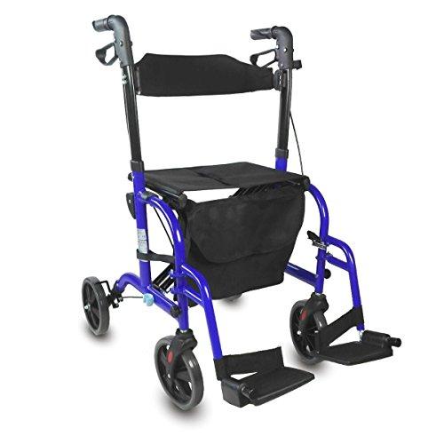 Mobiclinic, Modelo Picasso, Andador para mayores, minusválidos, adultos o ancianos, rollator, caminador, andador y silla de ruedas, aluminio, ligero, plegable, con asiento y 4 ruedas, azul