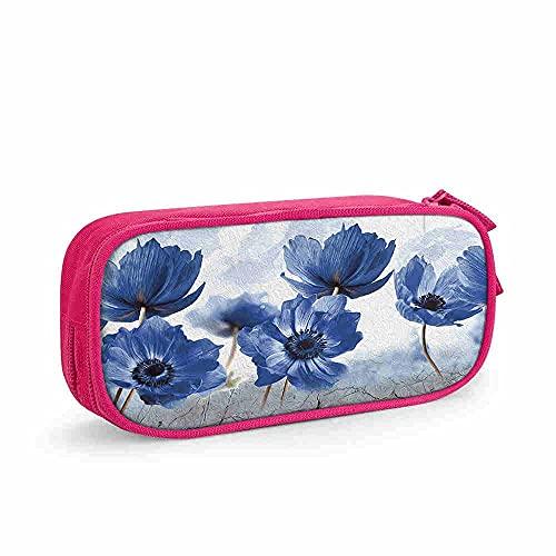 DJNGN Estuche para lápices de flores para mujeres, flor azul abstracta, piso de granito, estuche para lápices de apertura amplia, liviano, espacioso, estuche para lápices, bolsa de papelería con crema
