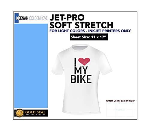 "JET-PROSS JETPRO SOFSTRETCH HEAT TRANSFER PAPER 11 x 17"" CUSTOM PACK 10 SHEETS"