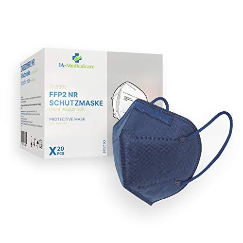 1A-Medicalcare 20x FFP2 Atemschutzmasken CE 2834 zertifiziert, Einzelverpackung in PE-Beuteln, Blau