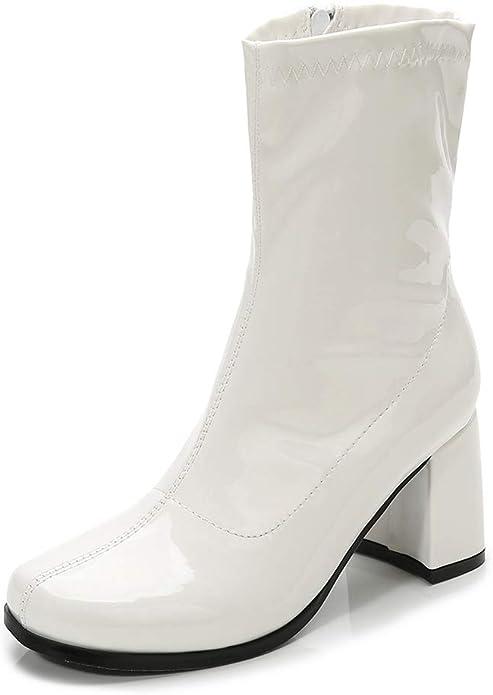 70s Clothes | Hippie Clothes & Outfits Womens Go Go Boots Mid Calf Block Heel Zipper Boot XZ-DX-1027  AT vintagedancer.com