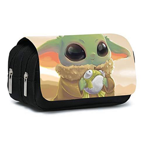 Yoda Star Wars, estuche de PVC con Cremallera, Estuche para Bolígrafos, Organizador de Papelería de Gran Capacidad, Bolsa con Cremallera Tipo Sándwich, 20 * 10 * 7,5 cm, 130 g