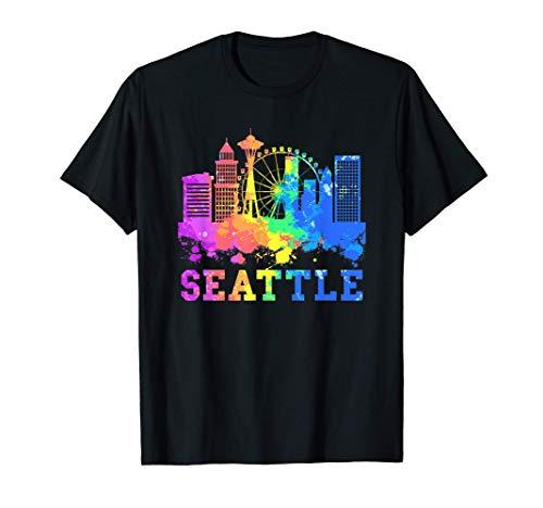 Seattle Washington Skyline Watercolor Souvenir Gift Seattle T-Shirt