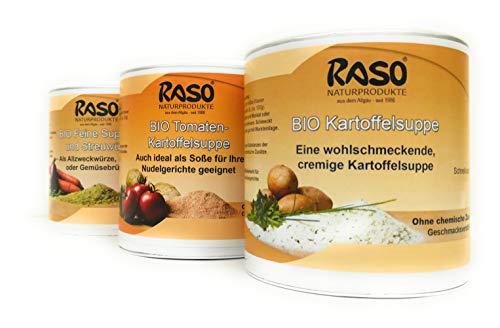 Bio Suppen PAKET VERSANDKOSTENFREI 250g Instant Suppe Tomaten Kartoffel Creme Suppe | 1x BIO Kartoffelsuppe 250g | 1x BIO Gemüsebrühe 300g | Instantsuppen | Trocken Suppen von RASO Naturprodukte
