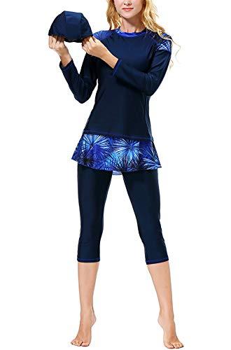Dreamskull Muslimischer Muslime Badeanzug Damen Frauen Islamische Muslimische Schwimmanzug Bademode Badebekleidung Schwimmen Kleidung Langarm Muslim Swimwear Swimsuits (X-Large, Dunkelblau)