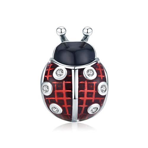 Charm a forma di coccinella in argento Sterling 925 con inserto in smalto rosso, compatibile con braccialetti Pandora