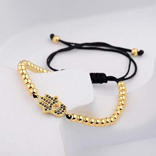 Bracelet Copper Gold Charm Bracelets& Bangles Men Handmade Micro-Inlaid Zircon Weaving Bracelets For Women Gold