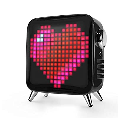 Divoom Tivoo Max Smart Portable Bluetooth LED Speaker with APP-Controlled Pixel Art Animation, Notification and Build- in Clock/Alarm, 6.42X7.26X3.39 inch (Black) by Divoom