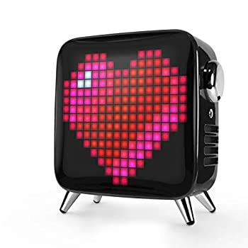 Divoom Tivoo Max Smart Portable Bluetooth LED Speaker with APP-Controlled Pixel Art Animation Notification and Build- in Clock/Alarm 6.42X7.26X3.39 inch  Black
