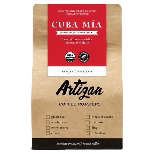 100% Organic Authentic Cuban Espresso - Cafe Cubano Cafecito - Intense Dark Roast - Cuba Mia Signature Blend - USDA Certified Organic - Roasted in Miami, FL (Fine Grind, 12 oz)
