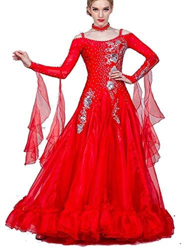 Fhxr Vestido de baile de saln estndar nacional para mujer, traje de danza moderna, vestido de vals de baile social (color rojo, tamao: XXXL)
