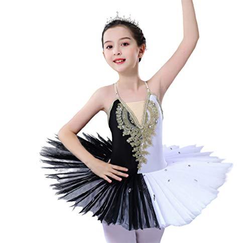 ZYLL Vestido de tut de Baile de Ballet Blanco y Negro, Trajes de Ballet del Lago de los cisnes para Mujeres y nias, Leotardo con Falda, Ropa de Baile de Bailarina,150CM