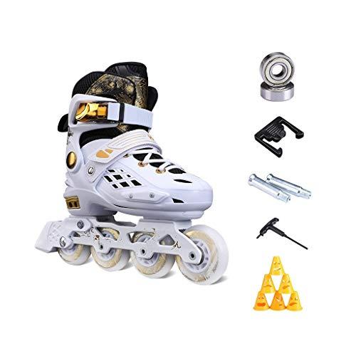 Sljj Außen Einstellbare Schwarz-Speed Roller Skates for Kinder mit Voll leuchten LED Räder, weißes Gold Inline Skates for Mädchen und Jungen, Männer und Frauen
