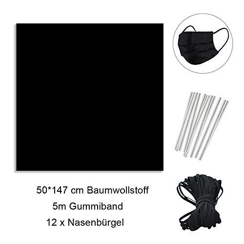 Beetop DIY Set Baumwollstoff 5M Länge 3mm Breite Gummiband + 50 x 150 cm Baumwolltuch + 12 Stücke Nase Brücken Für DIY Nähen Und Handwerk Schwarz