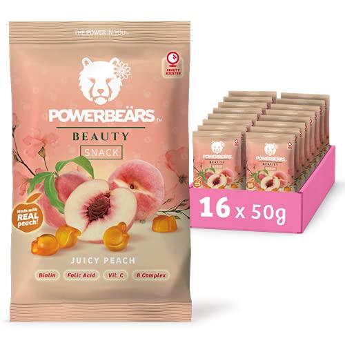 Powerbeärs Beauty Juicy Peach | Fruit Gummy Snack | With Biotin, Folic Acid, Vitamin C and Vitamin B Complex (16x50g)