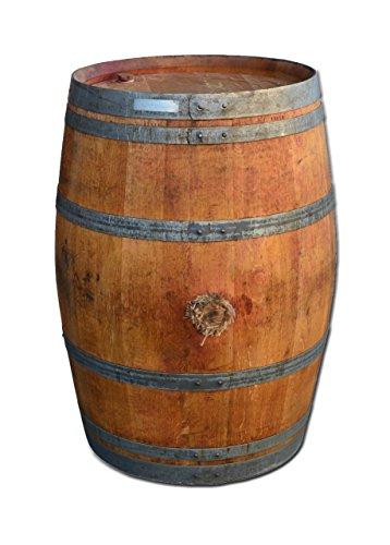 Dekofass, Weinfass geöffnet als Regentonne, Regensammler - Fass Natur und geölt (Fass geöffnet mit Deckel)