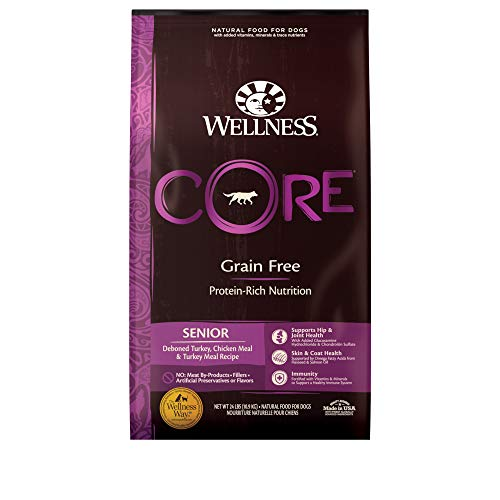 Wellness Natural Pet Food CORE Natural Grain Free Dry Dog Food, Senior, 24-Pound Bag, Turkey