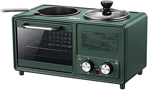 Loxzjyg Máquina de desayuno de horno eléctrico multifunción Máquina multifuncional Cuatro en una casa pequeña 8L Máquina de pan de 8L 1600W 304 Modo de puerta de vidrio templado de acero inoxidable +