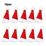 10 unids/set decoración de Navidad creativo mini sombrero de Santa Claus champán botella de vino tinto Lollipop top decorativo Navidad fiesta ornamento