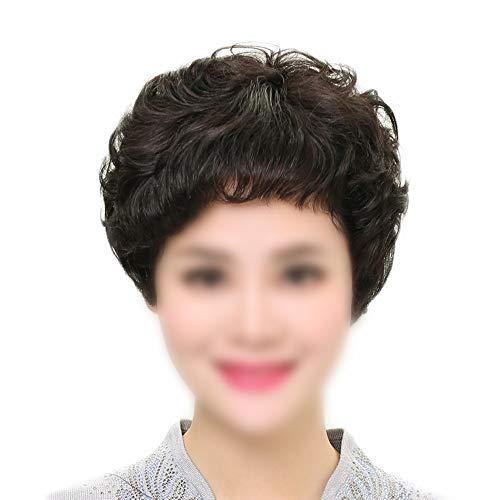 ERSD Perruques de Cheveux véritables tissés à la Main pour Les Femmes Cheveux Courts Extensions de Cheveux Micro-Ondes pour la mère Cadeau Composée Perruque de Cheveux en Dentelle Rôle Jouer Perruque