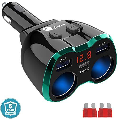 Qidoe Zigarettenanzünder Verteiler Typ C, USB C Auto Ladegerät Adapter Splitter KFZ Ladegerät 2 Fach Steckdose 12V/24V DC 80W mit Rot LED Voltmeter Schalter 3 USB für Handy Tablet GPS DashCam