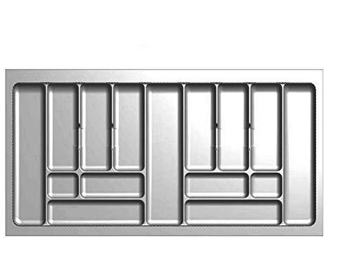 Besteckeinsatz Schubladeneinsatz Besteckkasten Comfort Universal | für 100er Schubladen | zuschneidbar von 880-930 mm | Silbergrau
