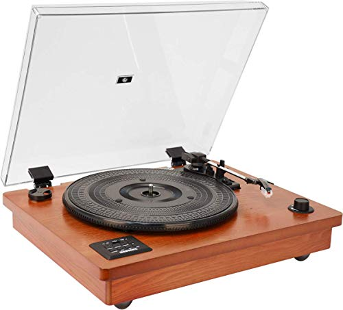 HOFEINZ Vintage Style Natural Wood Belt Driven Turntable with 3 Speed Built in Stereo Speakers, Bluetooth and Vinyl-to-MP3 Recording