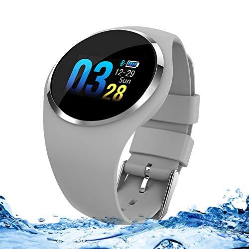 Zeerkeer Smartwatch, Polso Frequency Cardiaca/bloeddruk/waterdicht IP67 meldingen voor Facebook/Twitter/WhatsApp-tracker., Grijs