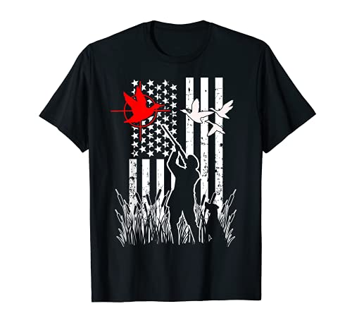 Bandera Americana Patriótica Pato Caza Aves Acuáticas Caza Gans Camiseta