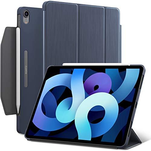 iPad Air 4 10.9-inch case, ROARTZ Metallic Navy Blue Slim Fit Smart Rubber Coated Folio Case Hard Cover Light-Weight Wake/Sleep Pencil Holder for Apple iPad Air 4th Generation 2020 Lastest Model