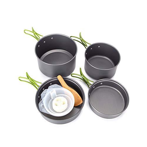 Cratone - Juego de ollas de Picnic de 4 Piezas para Acampada, Senderismo, Camping y jardín