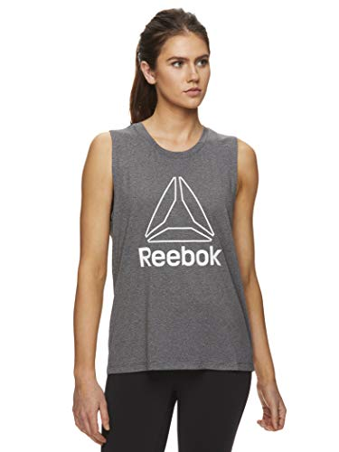 Reebok Women's Muscle Tank Top - Ladies Moisture Wicking Activewear & Workout Shirt - Charcoal Heather Prime Muscle, Large