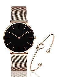 in budget affordable Women's Rose Gold Watch Analog Stainless Steel Mesh Quartz Bracelet Casual Fashion Women's Bracelet…