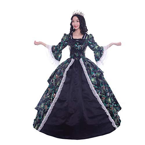 KEMAO Rococo - Vestido Victoriano del Siglo XVIII para Fiesta de Disfraces, para Mujer, Color Rojo/Dorado