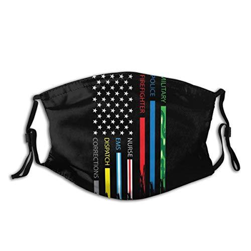 No One Fight Alone USA Flag Thin Blue Line America Flag Fashion Face Mask Fabric Protection Bandanas Balaclava Pocket Washable Reusable with 2 Pcs Filters