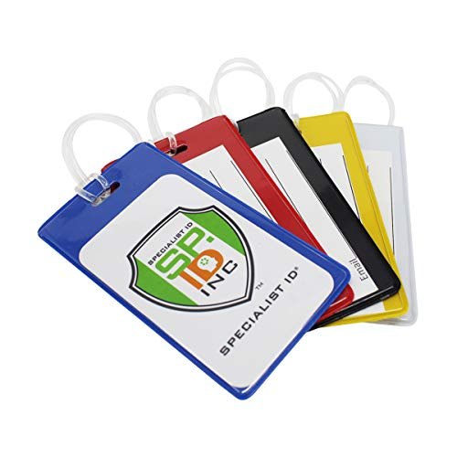 25 Pack - Bright Backpack ID Luggage Tags for Student Identification Cards - School Name Badge Holder for Backpacks - Business Card Size with Clear Insert Window by Specialist ID (Assorted Colors)