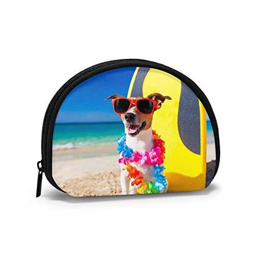 Perro en la Playa con una Tabla de Surf con Gafas de Sol Monedero pequeño para Mujer Bonita Bolsa de Monedas para niña Mini Bolsa de Monedas Bolsa de Almacenamiento Cartera de Concha