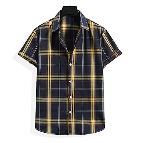 SSBZYES Camicie da Uomo a Maniche Corte Camicie a Quadri da Uomo Estive Camicie a Righe a Maniche Corte da Uomo Moda Spiaggia Casual Camicie a Quadri Giovanili
