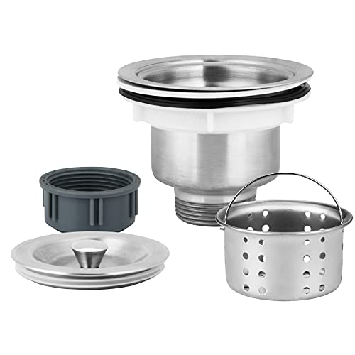 DESUMG Kitchen Sink Drain Strainer Assembly, 304 Stainless Steel Sink Stopper And Removable Deep Waste Basket For 3-1/2 Inch Commercial Kitchen Sink