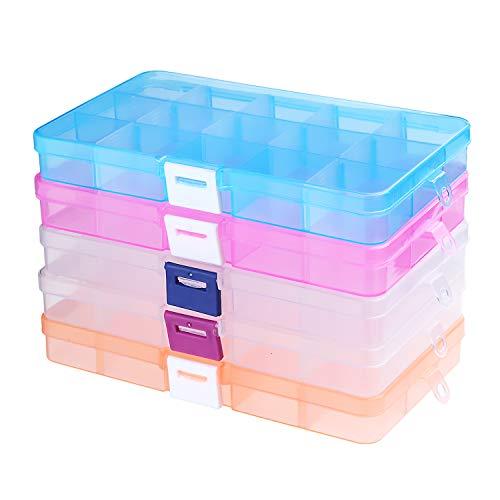 Tatuer Sortierboxen für Kleinteile Aufbewahrungsboxen Ohrringe Perlen Kleinaufbewahrung Plastik Perlenbox, Mini Schmuckkasten Einstellbar Sortimentskasten Bastelbox Aufbewahrung