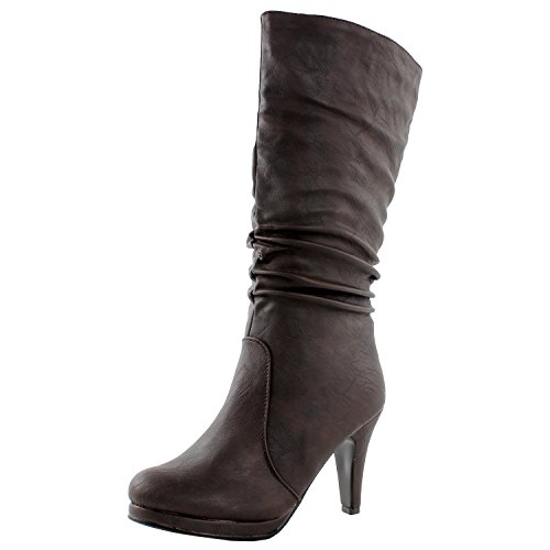 TOP Moda Womens Page-43 Mid Calf Round Toe Slouched High Heel Boots, Brown 10