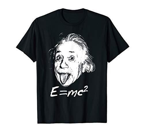 Nerdy Einstein sticking tongue out E=mc2 Physics Teacher T-Shirt