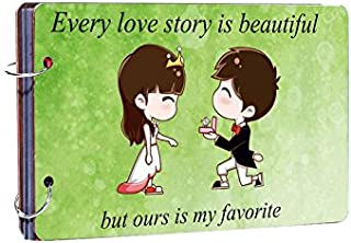 Studio Shubham Every Love Story is Beautiful Wooden Photo Album (26 cm x 16 cm x 4 cm, Green)